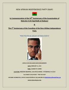 NAIP Poster 'Political Legacy of Malcolm X', 50th anniversary of assassination, 02-21-2015