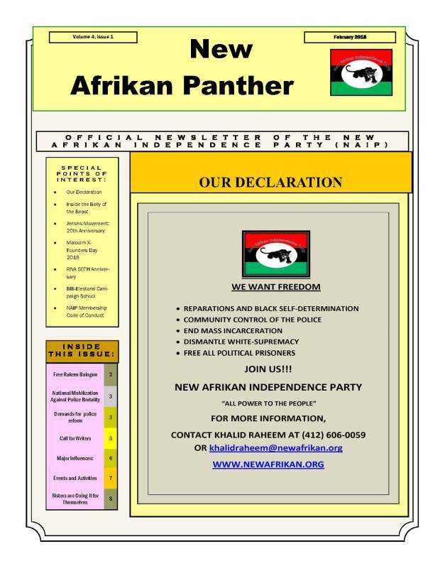 new afrikan panther, volume 4, issue 1, 02-2018, PAGE 1