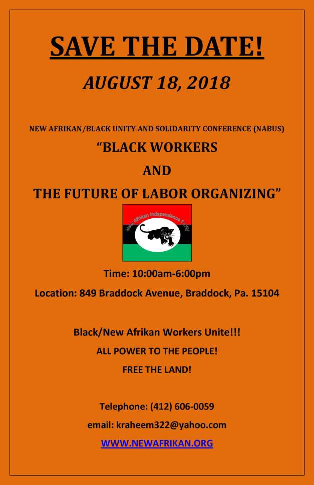 SAVE THE DATE (NABUS 2018) - 'Black Workers the Future of Labor Organizing'