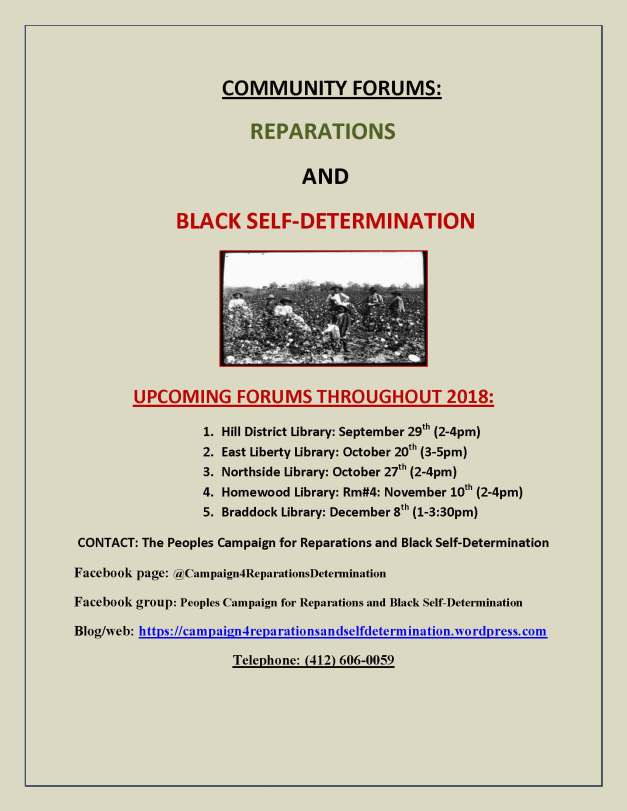 Campaign for Reparations and Self-Determination meeting flyer